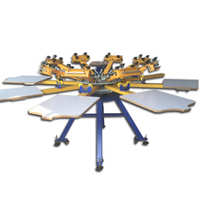 maual rotary 8 color t-shirt silk screen printing machine