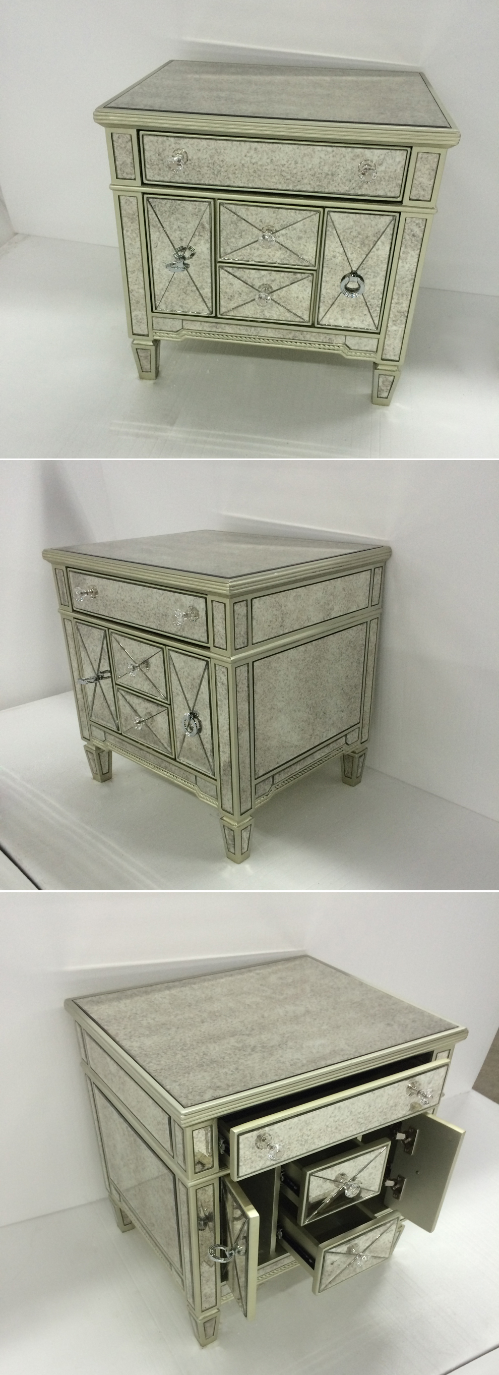 Hot Sale Mirrored Glass Nightstand With Antique Mirror Buy Glass Nightstand Hot Sale