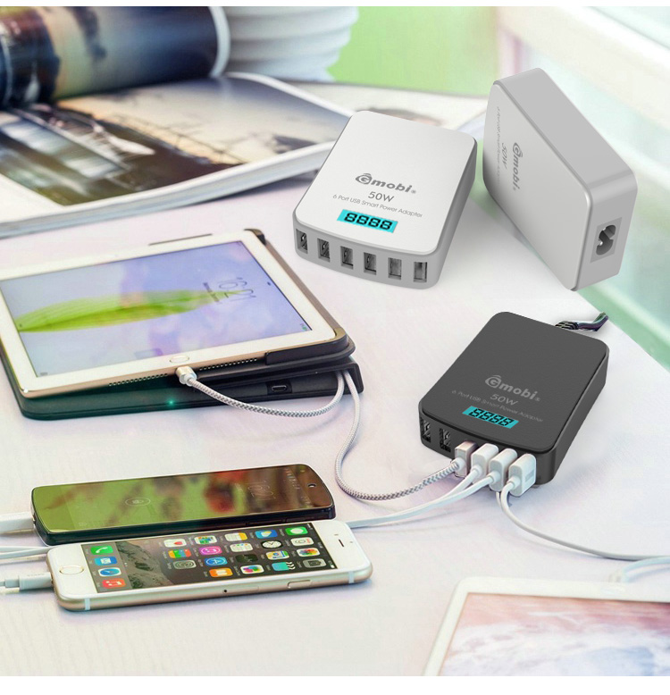 Travel Accessories Intelligent Multiple Micro USB Home Wall Charger GP29B 6 Port 50W/10A