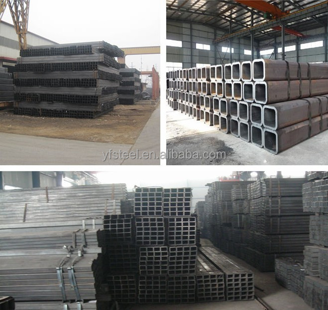 400x400 large size black square and rectangular hollow section steel tube