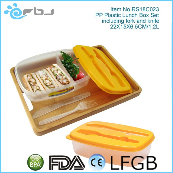 Clear PP Plastic Container For Food With Dividers