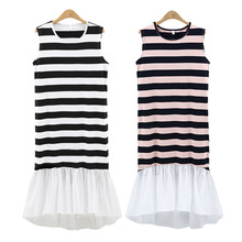 Z90756B 2017 Latest European high quality fashion large size slim striped sleeveless irregular dress for sexy ladies