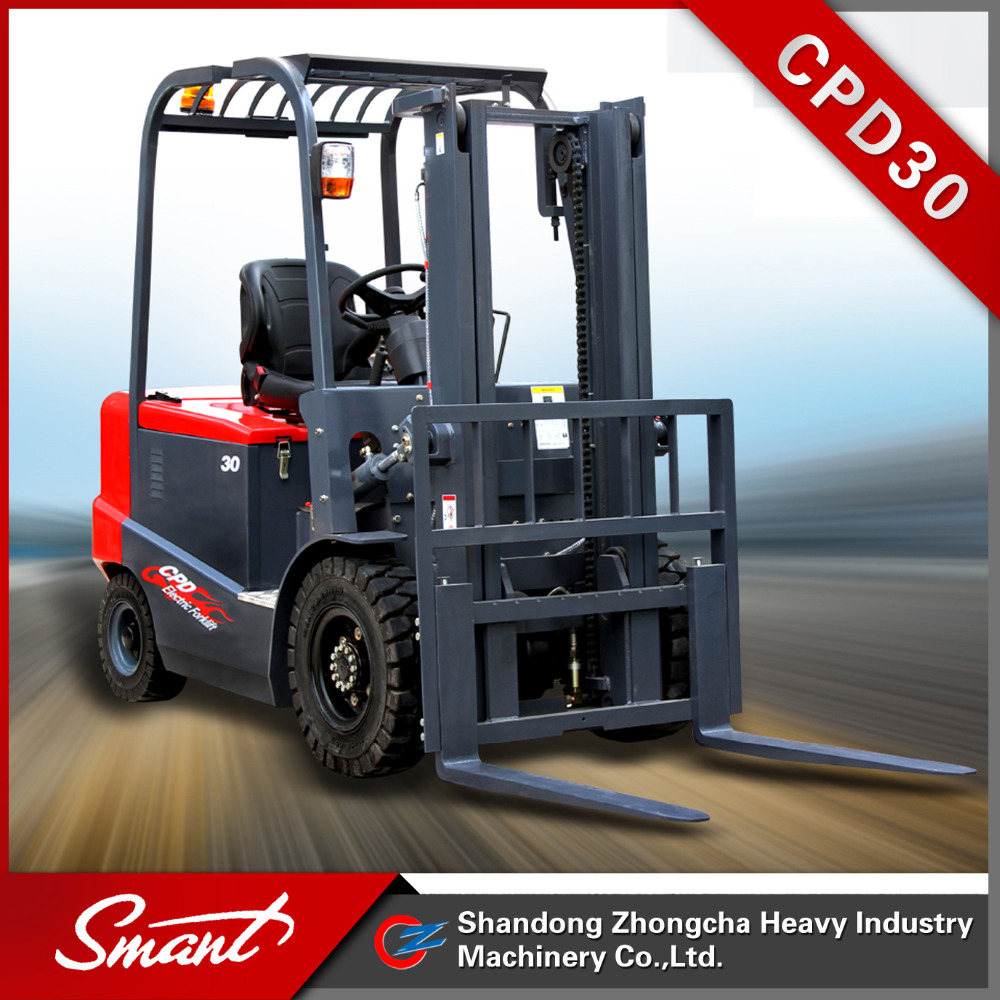 Best selling 4 wheels lifting truck 3 ton electric compact forklift truck with CE