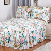 TOP RUFFLED PRINTED WHOSESALE QUILTED BEDSPREADS FOR HOTEL WITH 2 SHAMS