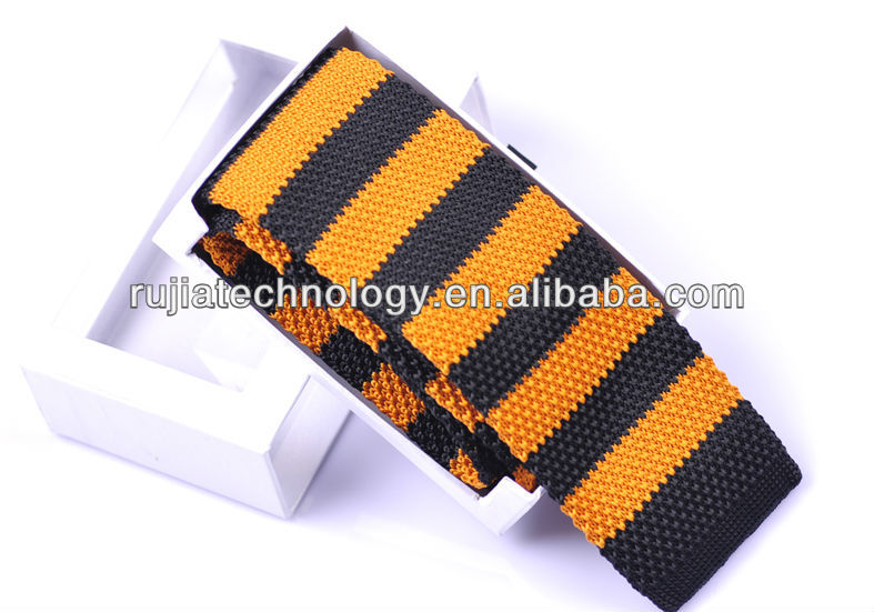 Fancy Golden Striped Mens Knit Tie For Youngsters