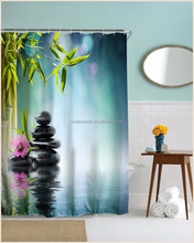 Gergous style printing bamboo fabric shower curtain pictures