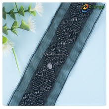 Handmade fancy lace trim black color mesh beaded trim for wedding dress