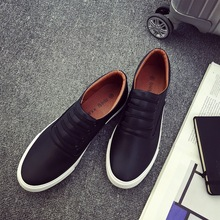 SS0084 Fashion new men casual slip-on shoes spring flat pu sole shoes 2018