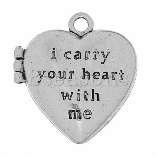 "Magnetic Charm Pendants Heart Antique Silver Message Carved ""i carry your heart with me"" Can Open 35mm x 32mm,1Piece"