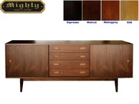 66 inch 4 Drawers Wooden Walnut Kitchen Retro Sideboard