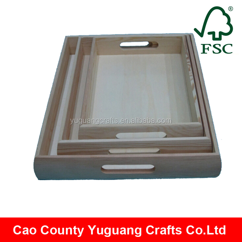 Alibaba China Unfinished Rectangular Wooden Serving Tray