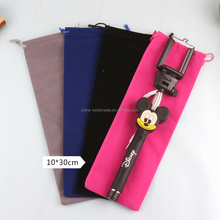 Multi colors Custom Logo Gift Packaging Bags 5 x 15cm NEW Velvet Drawstring Pen Pouches