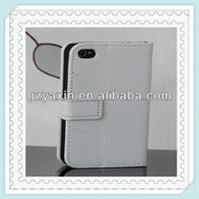 Wallet leather flip open case for iphone 4s,best seller