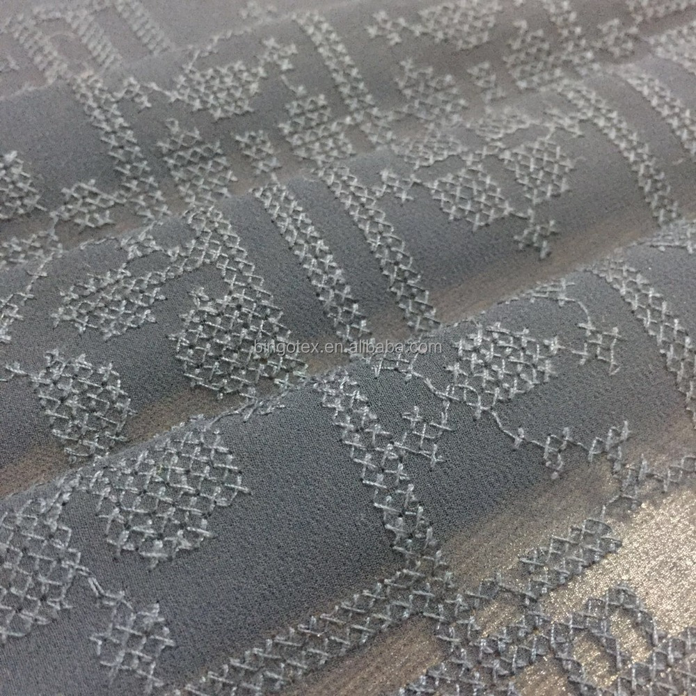 China supplier cross-stitch chiffon embroidery fabric for garment