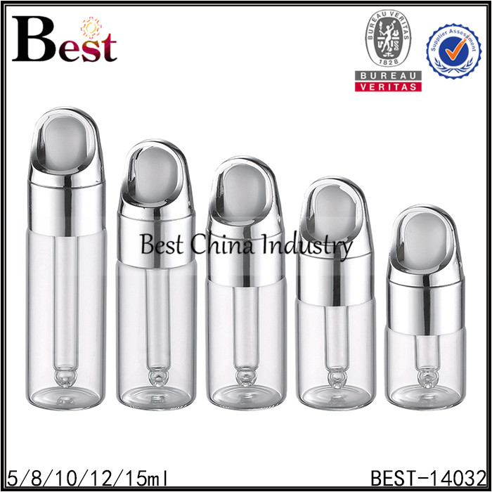 5/8/10/12/15ml silver basket dropper cosmetic use perfume screw cap top glass tube bottle packaging