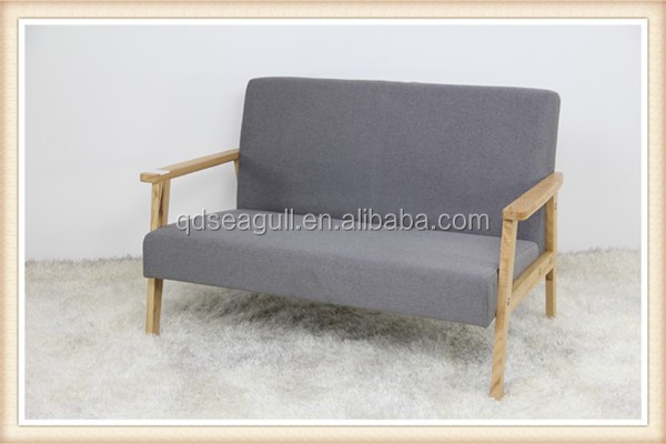 Stable practic home furniture fabric double sofa with solid wood frame