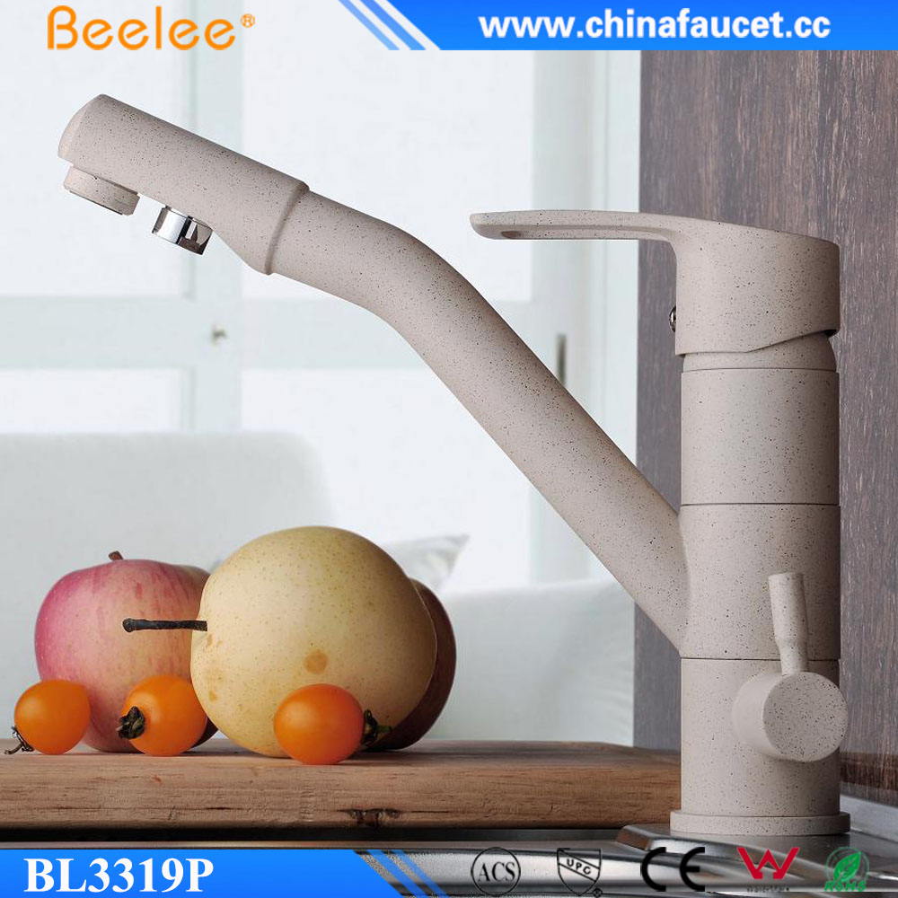 Beelee BL3319P Brass Painting Kitchen Faucet Three 3 way Kitchen Mixer Taps Pure Water Faucet