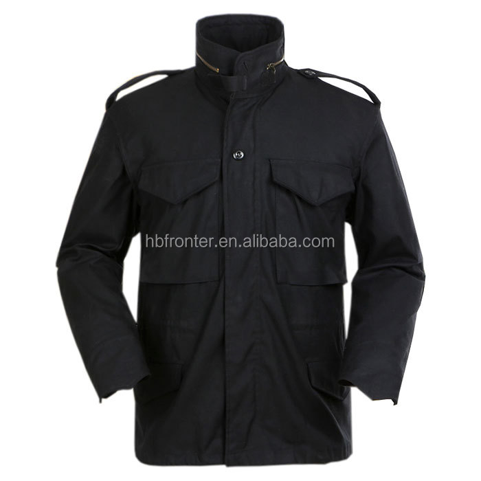 Factory supply BDU TYPE black plain field military jacket m65