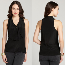 2014 New Collection Summer Black Ruffle Front Blouse