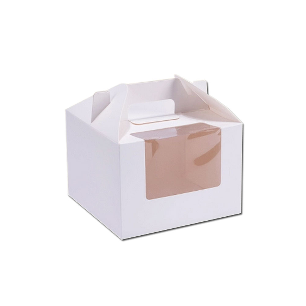 Hot Sale Custom Cheap Donut Paper Packaging Take Away Cake Box With Handle