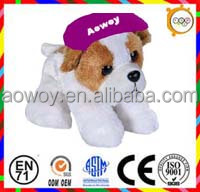 logo plush dog scarf plush bulldog with logo hat stuffed animal bandana plush animal toy