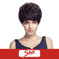 SLEEK Short Curly 100% Indian Human Hair Machine Made Wigs for African American Tape Curl Afro Wig