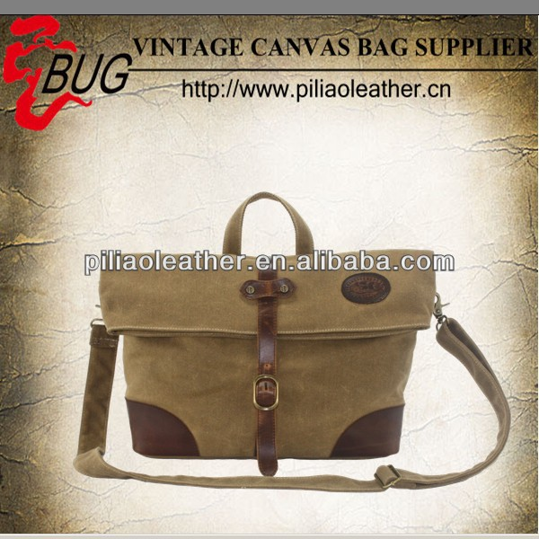 Men's Vintage doulble waxed Canvas Leather messenger bag