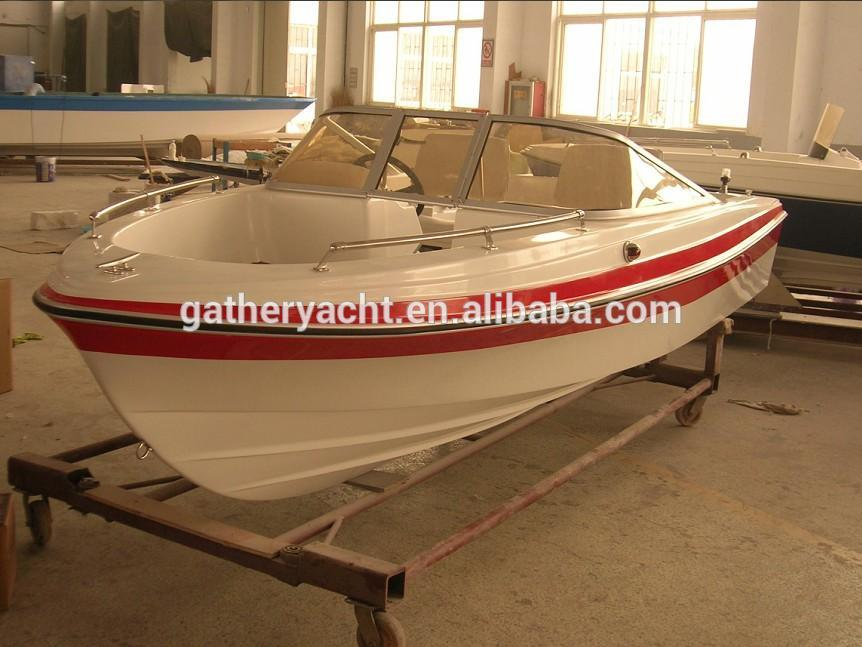 Gather Yacht factory hot sale 16ft cheap fiberglass speed boat with outboard engine