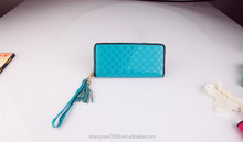 Hotest sale sheepskin handmade weave long wallet zipper women fashion clutch bag