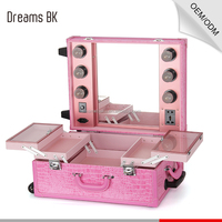Makeup Case with Lights Mirror Professional Trolley Case Beauty Makeup Box