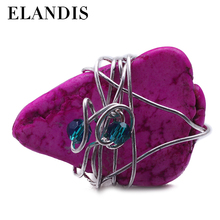 E-ELANDIS fashion turquoise natural stone inlaid finger ring