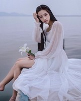 C71006A long sleeve White chiffon prom dress for women in summer