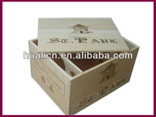 Natural Wood Wine Charm Packing Box For 6 Bottles
