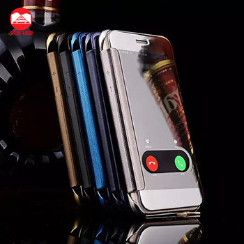 2016 New Arrive Luxury Plating Touch Sensitive Clear View Smart Mirror Flip Case for Iphone 6 6S Plus