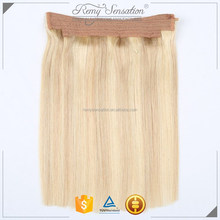 Hair extension Halo Flip invisible Miracle Wire hair pieces Straight