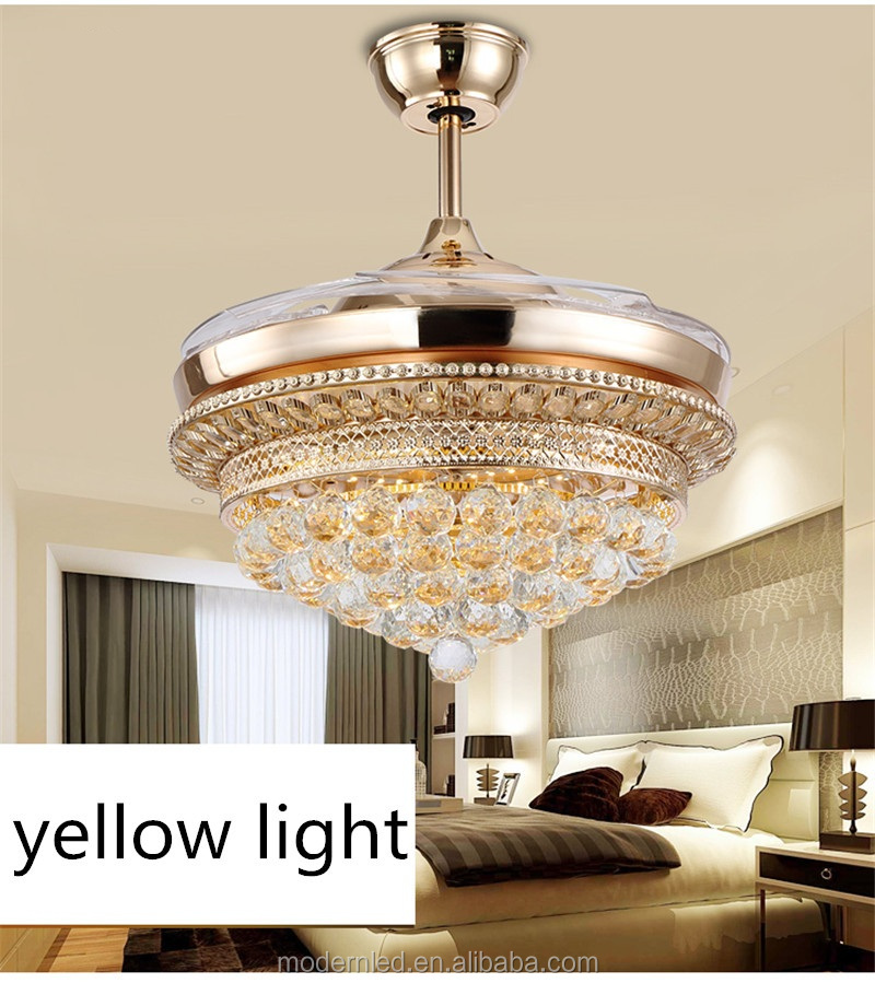 shenzhen modern ligthing 42 inch Crystal remote control hidden blades Ceiling fan with led light