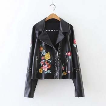 Women Fashion PU Leather Bomber Casual Heavy Enzyme Embroidered Washing Jacket ,womens leather coats