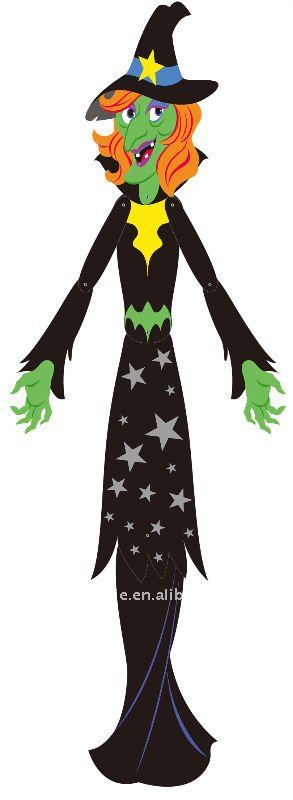 halloween witch jointed paper cutouts