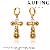 20865-xuping wholesale fashion jewelry earrings for women,single stone earring designs,18k gold diamond cross earring