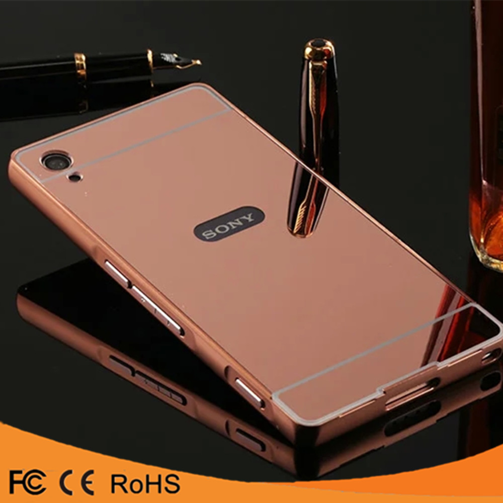 2016 Hot selling Aluminum Bumper Metal Mirror cover phone case For SONY Z2