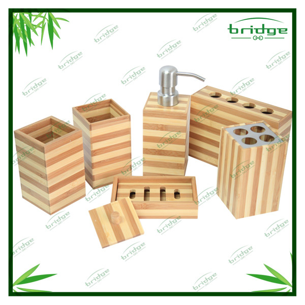 6pcs bamboo bathroom accessories sets