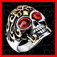 Unique designed couples skull ring gold plated man ring
