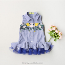 KS11028G Nice flower embroidered kids dresses shirt pattern fashion design small girls dress