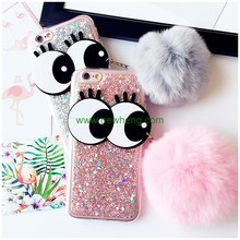 Factory Price Cartoon Big Eye Bling Glitter Fur Ball Tassel Phone Case For iPhone 7
