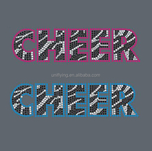 Wholesale Zebra Cheer iron on Rhinestone Transfer Bling For Tshirt
