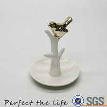 Ceramic ring jewelry holder with Golden bird and white tree design tray