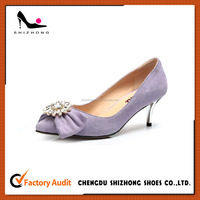 purple girls cute low heeled dress shoe , suede upper nice design dress shoe, high quality customized dress shoe