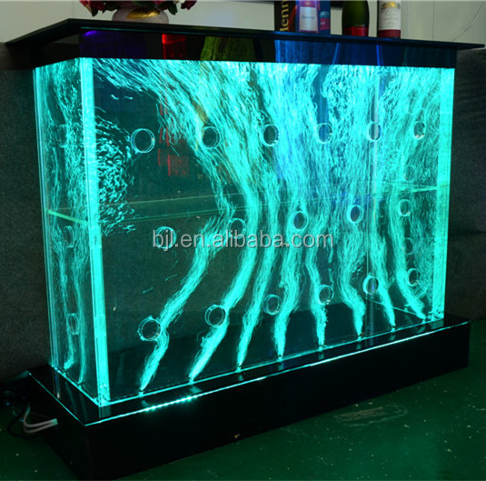 modern salon hotel reception desk with water bubbles and led light