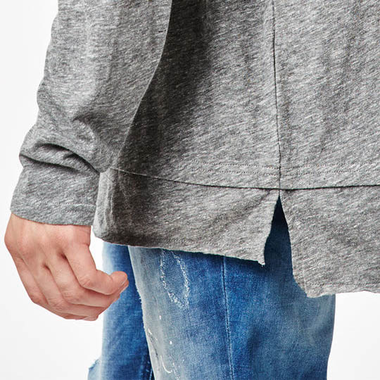 New Fashion Design Men Layered Long Sleeve T-Shirt Seitenschlitze Drop-Tail-Saum erweiterte Länge T-Shirt
