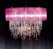 Colorful bohemian crystal chandelier and pendant light